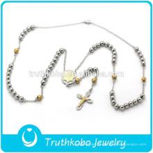 2016 Diseño clásico de dos tonos, estilo rosario, con cuentas, oración de los señores y collar cruzado de acero inoxidable