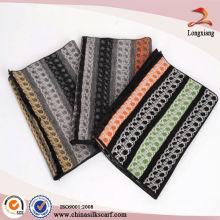 Elegante lenço de pashmina de seda de outono e inverno com borlas