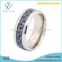 Moda prata alta borda polida com jóias de titânio anel de fibra de carbono