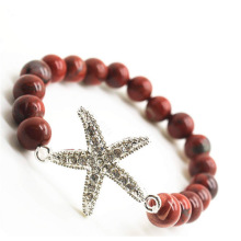 Red Jasper 8MM Round Beads Stretch Gemstone Bracelet with Diamante alloy starfish Piece