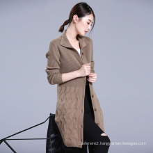 Women long overcoat thick pure cashmere knitting stand collar single breasted winter overcoat with pockets