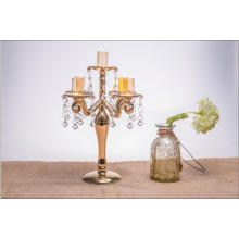 Golden Color Glass Candle Holder for Wedding Decoration with Five Poster