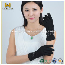 Fashional femmes en daim noir femmes en cuir avec des pierres