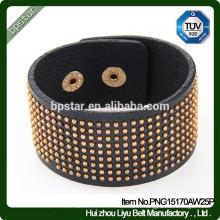 Fashion Cow hide Bracelets en cuir large Mens Bracelets en diamant / hommes