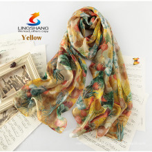 LINGSHANG new style silk scarf gift female long design silk summer thin sunscreen fashion print silk scarf