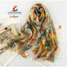 LINGSHANG estilo novo seda cachecol dom feminino longo design seda verão fino protetor solar cachecol de seda de impressão de moda