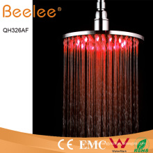 8 Inch Round Brass Self-Powered LED Rainfall Shower Head