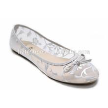 2016 mulheres de verão sapatos de prata foil carimbar em sapato de malha sapatos de conforto lazer sapato