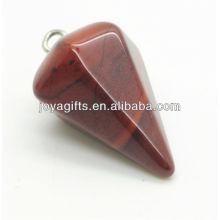 6 Seitenkegel Form Red Stone Anhänger Edelstein Anhänger