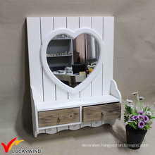 Small White Framed Decorating Wall Mirrors with Drawer