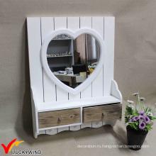Малые белые обрамленные украшения стены зеркала с ящиком