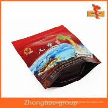 Guangzhou Food Grade Alumínio Giseng Bolsa Plástica Stand Laminação Ziplock Bolsa Com Janela