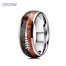 Unieke Tungsten Mens Wedding Ring Wood Inlay