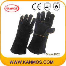 Cuero genuino del cuero genuino del cuero de la mano industrial que suelda el guante del trabajo de la soldadura (111033)
