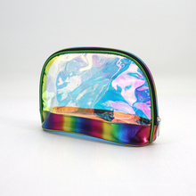 Shiny Shell Cosmetic Bag Holographic PVC Bags Transparent Bag With Zipper