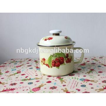 14cm(1400ml) full decal enamel mug with PE lid or metal lid