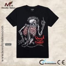 Y-100201 T-shirt luminoso do tatuagem do esqueleto camiseta T-shirt luminoso do tatuagem do esqueleto camiseta