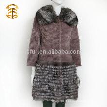 Suministro directo de la fábrica Real Rex Rabbit Silver Fox Fur Coat