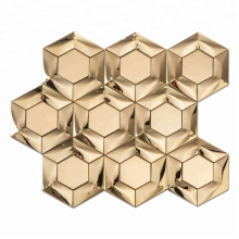 Popular New Style Gold Hexagon 3D Metal Mosaics For Kitchen Wall