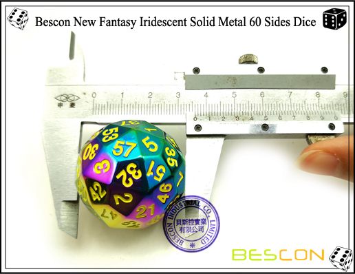 Bescon New Fantasy Iridescent Solid Metal 60 Sides Dice-5