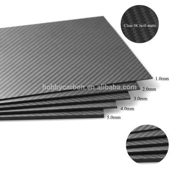 Folha de fibra pura tecida da fibra do carbono 3K para Multi-rotores