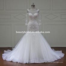 Long sleeve luxury beaded A-line wedding dress