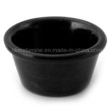Redondo de melamina negro Ramekin (bw249)