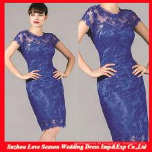 HM0054 Latest Designer High quality OEM wholesaler short sleeve royal blue shealth knee length mother of the bride lace dresses