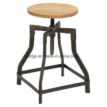 Tamborete de barra ajustável de tubo de ferro de assento de madeira