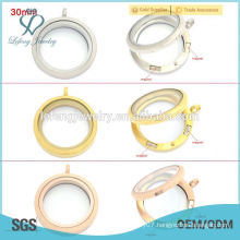 Silver/gold/rose gold round 20mm/25mm/30mm magnetic floating wholesale glass locket pendants, memory floating charms locket