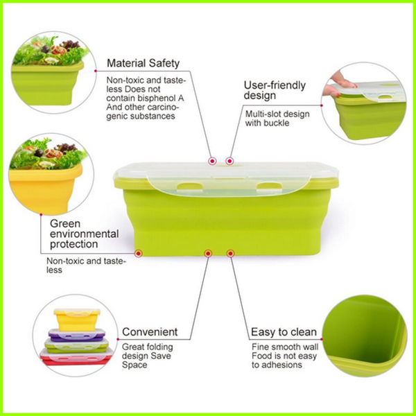 BPA Free Silicone Folding Bento Lunch Box