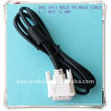 NOUVEAU Câble d'affichage à cristaux liquides DVI-D de 6,8M 6 po 18 + 1 broche MM Câble vidéo numérique à liaison unique