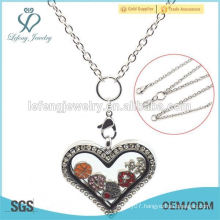 High quality stainless steel heart floating locket locket necklace chain