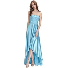 Kate Kasin Strapless Floor Length Silk-Like Sky Blue High Low Ball Gown Evening Prom Dress KK000112-1