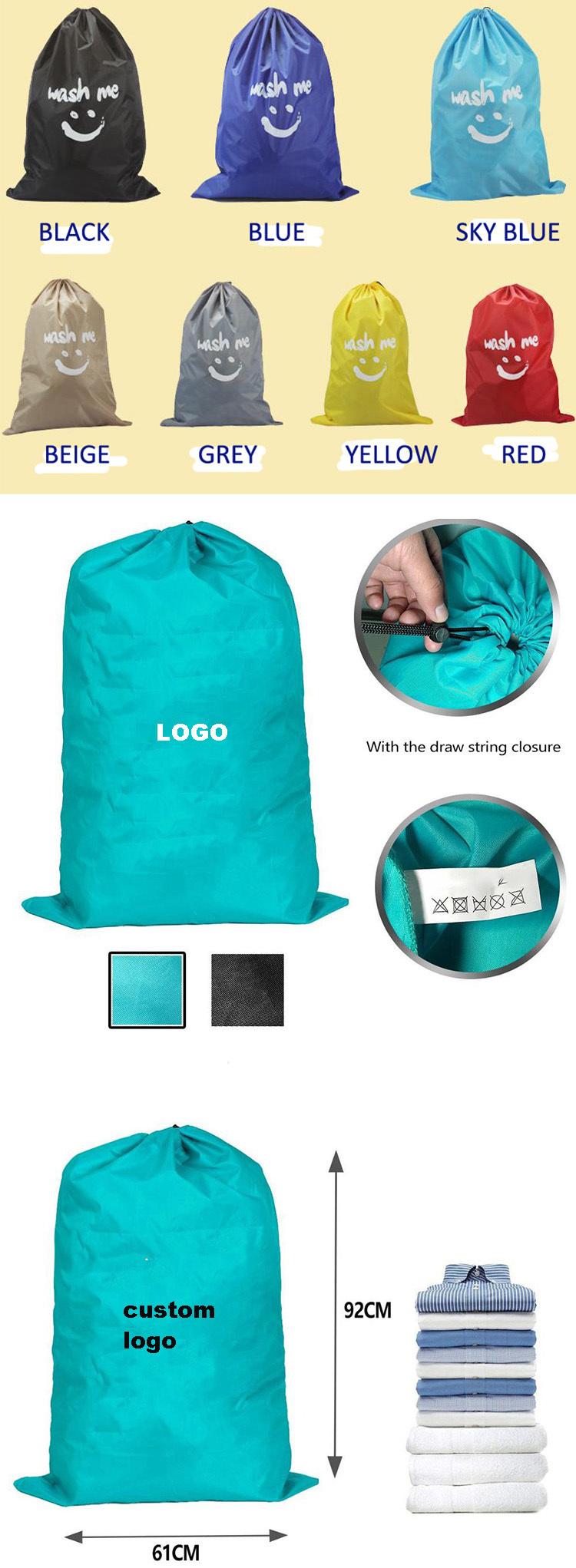 wholesale Customized Cheap nylon drawstring laundry bags big hospital Eco-friendly laundry bag with logo