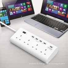 4 X 5V 1 X 12V USB Super Charger with 4 Ports UK Plug Outlet Surge Protector Power Stirp