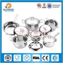 16pcs novo aço inoxidável utensílios de cozinha / panelas de cozinha e panelas