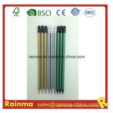 Silver Gold Metal Color Barrel Wooden Hb Pencil