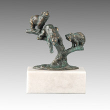 Animal Statue Three Little Bears Bronze Sculpture Tpal-266
