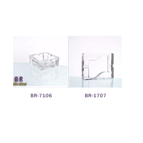 Br 7106 06crystal Glass Square Shape Ashtray