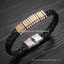 2015 nouveau bracelet en cuir bracelet en acier titane bracelet bracelet influx d'accessoires sauvages mâles PH866