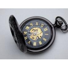 Reloj de bolsillo mecánico grabado negro premium con cadena