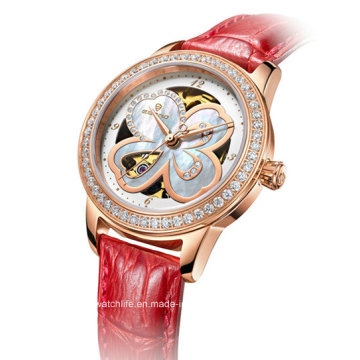 Automatic Diamond Four Leaf Clover Ladies Wrist Watch