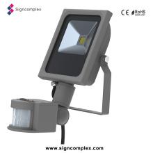 Luz magro do sensor de inundação do diodo emissor de luz da ESPIGA, projector 10W da luz de inundação do diodo emissor de luz com o PIR com Ce RoHS