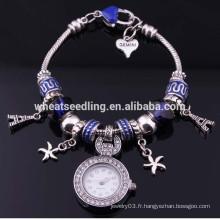 Bracelet en gros Sweet Romance Hearts et Effeil Tower Charm Bracelet FH-73