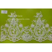 Ivory Lace Bridal Wedding Hem Lace Fabric with Sequins CT027C4B