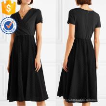Лето черный и белый горошек шифон V-образным вырезом с коротким рукавом Миди платье Производство Оптовая продажа женской одежды (TA0310D)