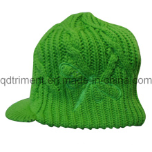 Acrylic Roll up Crochet Knitted Brimmed Warm Cabbie Beanie (TRK040)