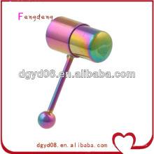 Aço inoxidável arco-íris vibrando língua anel corpo jóias