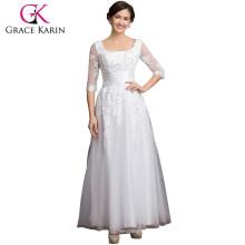 Grace Karin Square Neckline Long Sleeve plus size Mother Of The Bride Lace Dresses CL6051-3#
